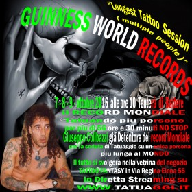 NUOVO GUINNESS WORLD RECORDS tattoo 7-8-9- ottobre 2016
