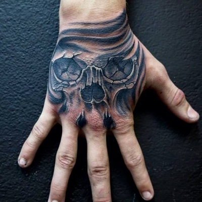 Phreak Ink ---skull on hand-1