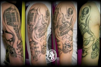 Music (rock) tattoo