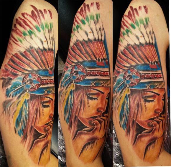 Tatuaggio volto indiana d'America-1