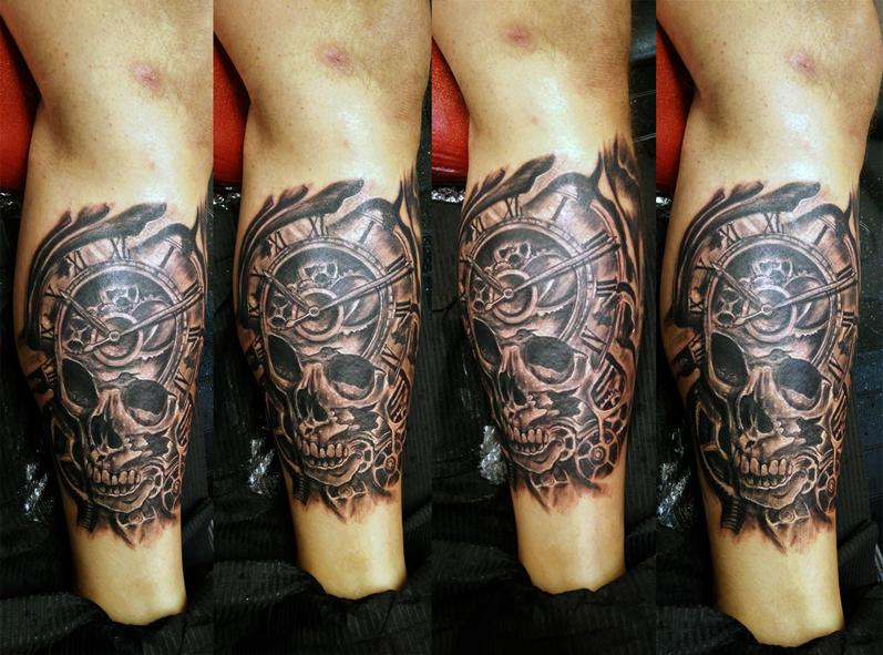 Tatuaggio teschio orologio-1