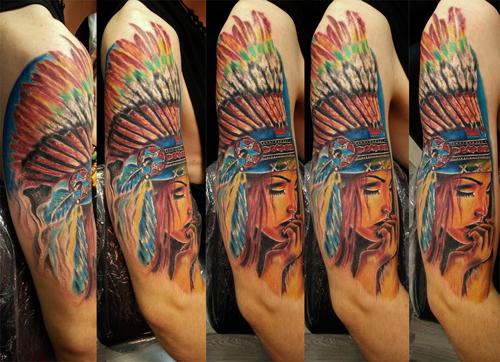 Tatuaggio indiana a colori ,  tatuaggio indiana -