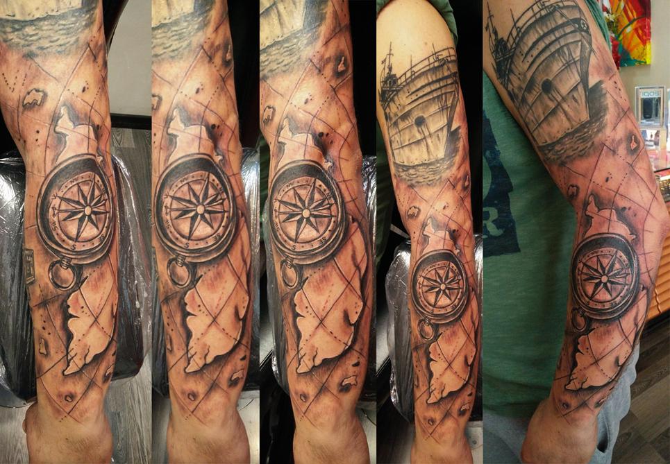 Tatuaggio navigazione bussola-1